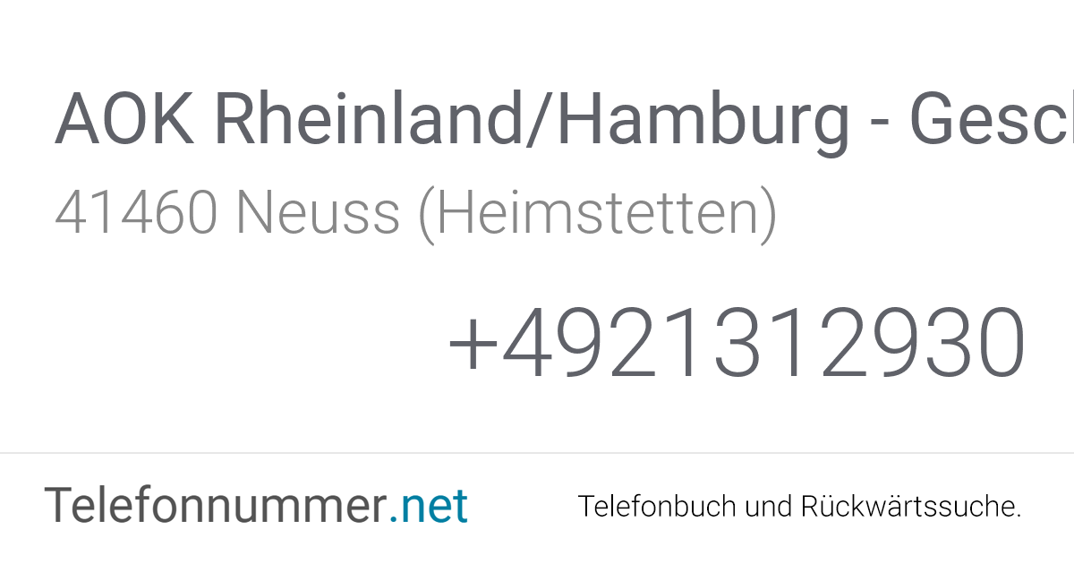 Aok Rheinland Hamburg Adresse Düsseldorf
