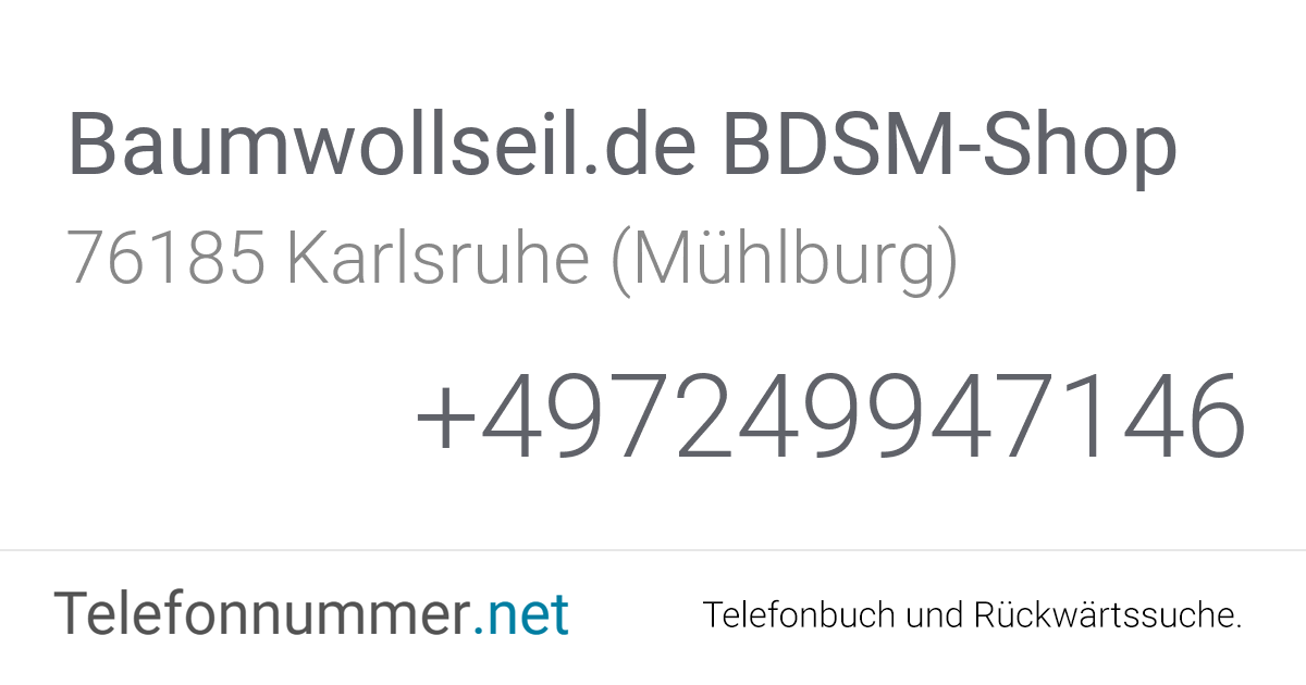 Baumwollseil.de BDSM-Shop Karlsruhe (Mühlburg), Gablonzer
