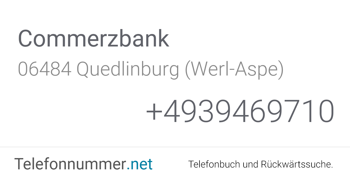 Commerzbank Rufnummer