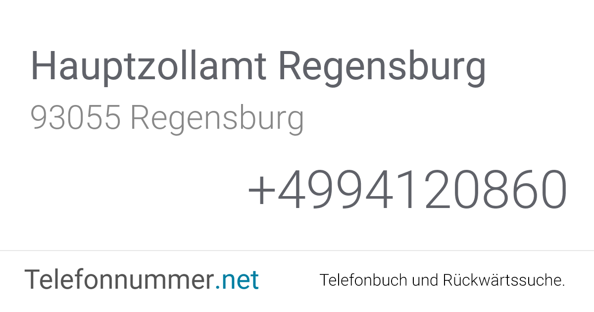 Hauptzollamt Regensburg Telefonnummer