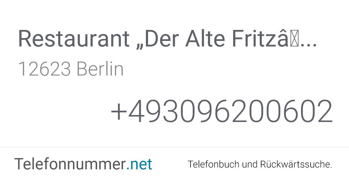 """Restaurant """"Der Alte Fritz"""" Berlin, Hultschiner Damm 1 ..."""