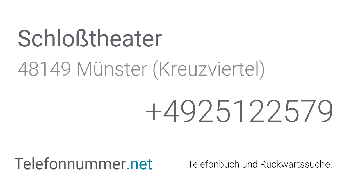 Schlosstheater Münster Programm