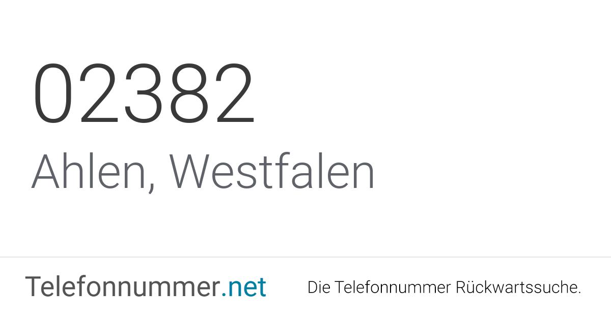 Ortsvorwahl 02382: Telefonnummer aus Ahlen, Westfalen